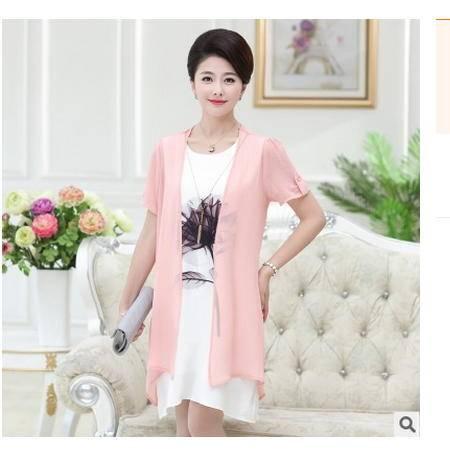 披风两件套长款大码时尚妈妈夏装夏季中老年女装乱麻短袖系卖