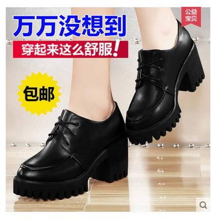 女厚底系带英伦时尚休闲女鞋时尚2016新品春夏新款黑色粗跟单鞋包邮
