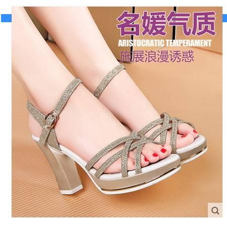 韩版鱼嘴鞋白领露趾粗跟高跟鞋子2016夏季新款女鞋性感罗马凉鞋女包邮