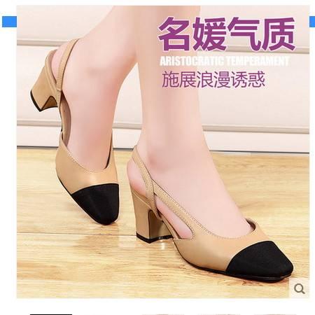 韩版高跟粗跟鞋时尚潮流百搭尖头女鞋2016瓢鞋夏新品女生凉鞋单鞋包邮