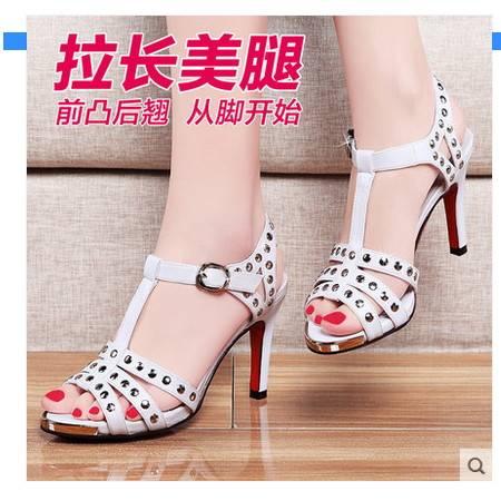 韩版高跟鞋细跟防水台休闲白领露趾女士鞋子2016夏季新品女生凉鞋包邮