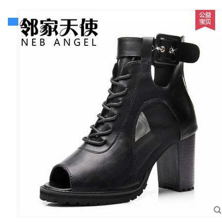 高跟鞋短靴女靴子鞋子新款女马丁靴粗跟骑士2016夏季新款女子单鞋包邮