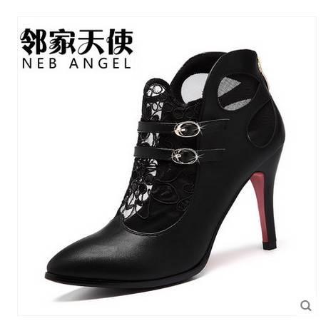 细跟性感浅口单鞋潮皮鞋欧美女士鞋子夏季新款女鞋蕾丝尖头高跟鞋包邮