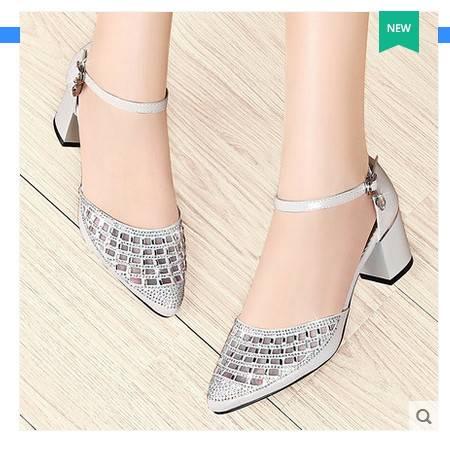 粗跟单鞋尖头网纱高跟鞋包头凉鞋女2016新款夏季水钻中跟浅口女鞋包邮