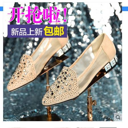 浅口尖头水钻平底单鞋粗跟网纱中跟鞋女生鞋子2016夏季新款女单鞋包邮