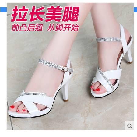 休闲外穿鱼嘴鞋白领露趾女士凉鞋女鞋2016夏季新款韩版细跟高跟鞋包邮