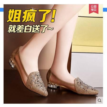 粗跟网纱中跟鞋女士鞋子2016夏季新款女单鞋浅口尖头水钻平底单鞋包邮