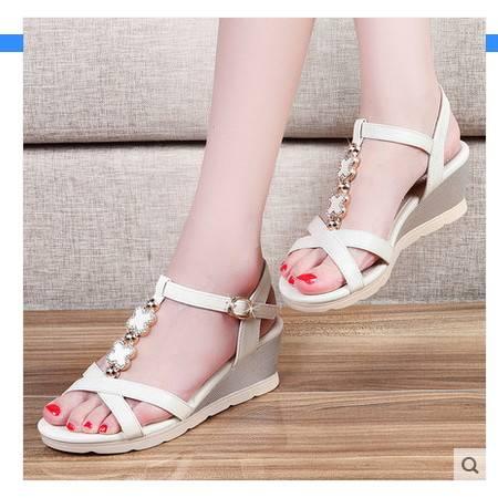 松糕厚底女学生鞋高跟鞋女鞋韩版2016夏季新款坡跟鱼嘴鞋罗马凉鞋包邮