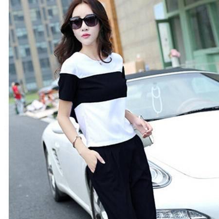 2016夏季新款韩版条纹雪纺短袖运动休闲套装欧洲站两件套时尚女装梦鼎