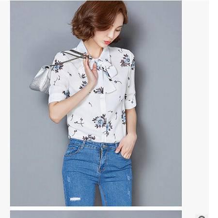 2016夏季新款韩版时尚修身显瘦打底衫印花休闲雪纺衫品牌女装上衣梦鼎