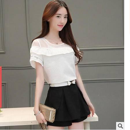 2016新款时尚夏季韩版荷叶边上衣裤裙两件套 拼接短袖休闲套装女梦鼎