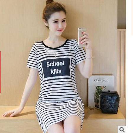 2016夏季新款韩版中长款条纹T恤 学生修身显瘦大码女装上衣连衣裙梦鼎