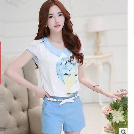 2016夏季新款韩版休闲套装 娃娃领印花雪纺衫上衣时尚短裤两件套梦鼎