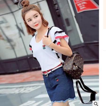 2016夏季新款时尚韩版短袖T恤两件套 绣花牛仔短裙配腰带休闲套装梦鼎
