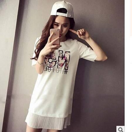 2016夏季新款韩版字母圆领中长款百褶T恤拼接上衣连衣裙大码女装梦鼎