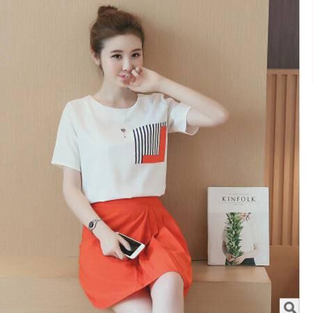 2016夏季新款韩版短袖两件套时尚T恤 拼接雪纺短裙套装梦鼎