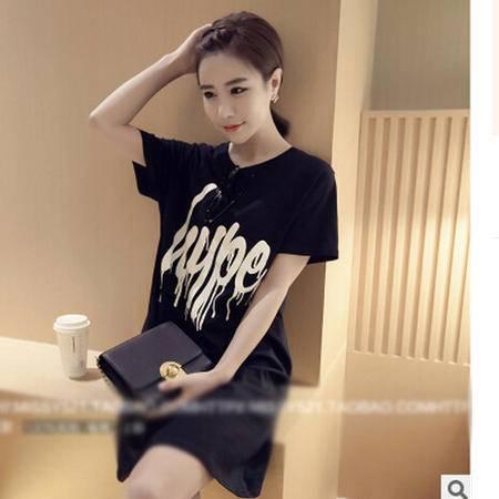 2016夏季新款韩版黑色打底衫女 时尚短袖字母中长款纯棉t恤女装梦鼎
