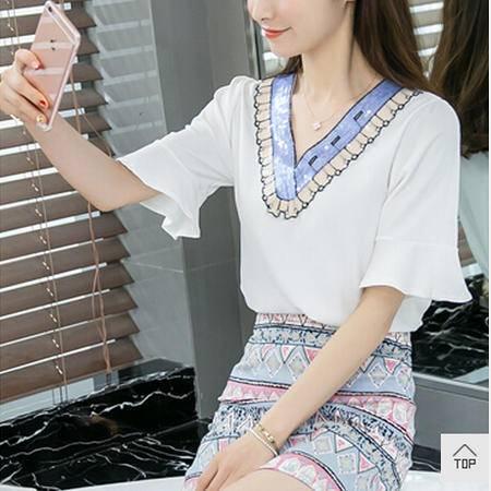 夏季女装2016新款潮短袖雪纺印花短裙修身连衣裙韩版套装裙两件套m梦鼎