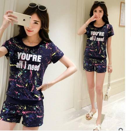2016韩版夏季新款泼墨印花运动套装休闲两件套装 梦鼎