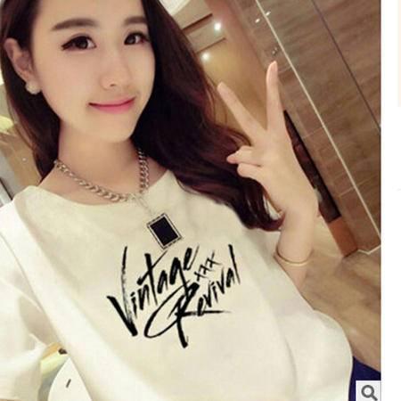 夏季闺蜜姐妹装白色短袖VIN字母印花韩版品牌女装短袖T恤上衣潮梦鼎