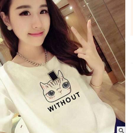 2016夏季白色短袖t恤女韩国卡通印花简约女装上衣服半截袖女t桖潮梦鼎