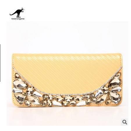 女士 时尚带钻女士钱包手拿包新款正品真皮钱包