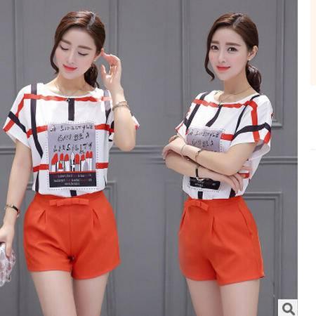 2016夏季新款韩版宽松印花短袖上衣两件套高腰显瘦时尚短裤套装梦鼎