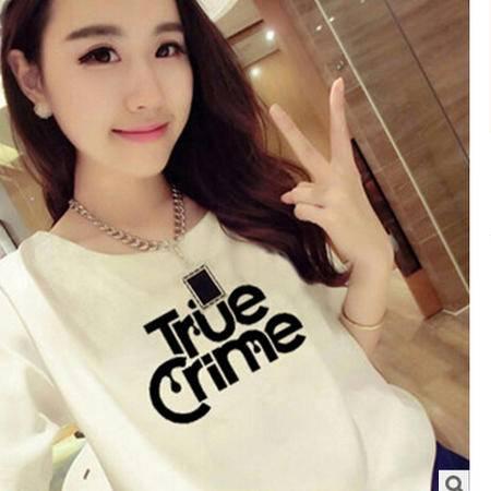 2016夏季闺蜜姐妹装白色短袖t恤简约TRUE字母印花韩版上衣女潮梦鼎