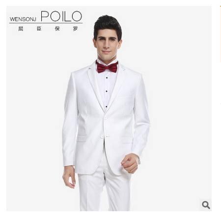 男士结婚新郎伴郎礼服定制西装屈臣保罗白色西装套装祥服包邮