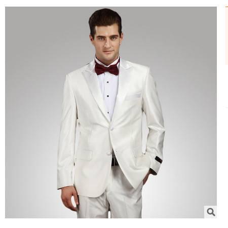 新郎伴郎主持演出宴会礼服套装 一扣尖领羊毛套装白色男式礼服祥服包邮