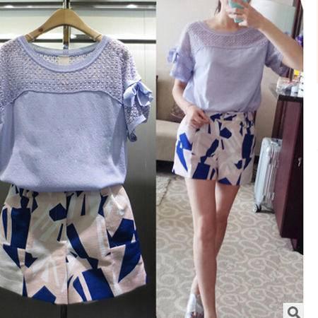 2016新款胖mm韩版显瘦夏季休闲套装品牌时尚欧洲站短裤两件套女装梦鼎