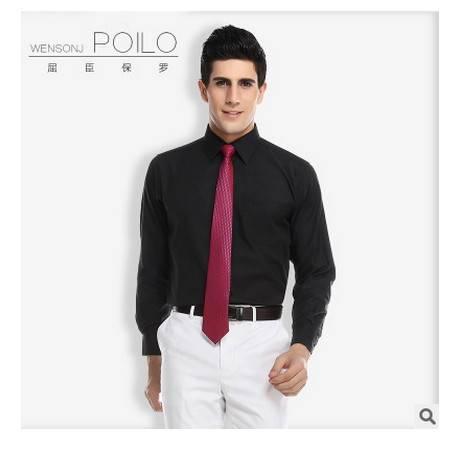 商务职业正装 免烫衬衣男装纯棉长袖黑色衬衫2016爆款男士衬衫 祥服包邮