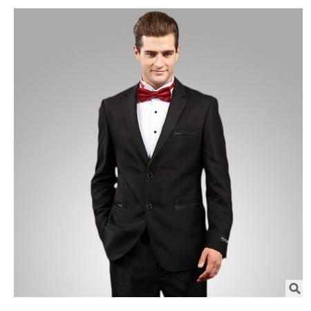 男士商务修身宴会婚礼亮面黑色西装套装高档羊毛料西服礼服套装 祥服包邮