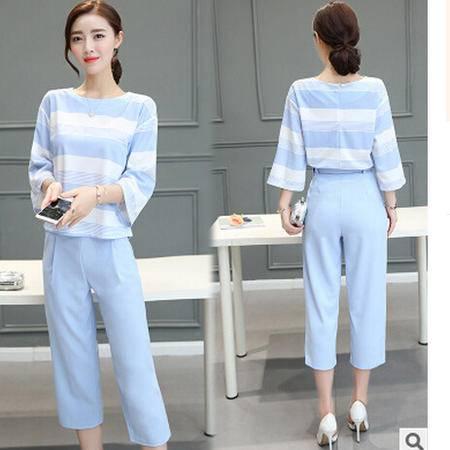 2016夏新款两件套韩版宽松条纹阔腿裤休闲时尚套装梦鼎