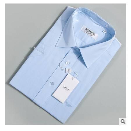 短袖纯色蓝色夏季薄款纯棉免烫商务绅士2016年名牌男衬衫祥服包邮