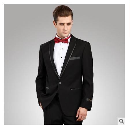 宴会修身皮边商务礼服套装伴郎服爆款 西装男 毛料高档新郎套装祥服包邮