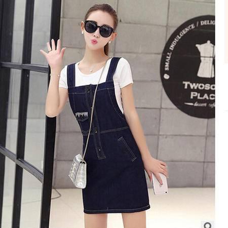 2016夏季新款时尚牛仔背带裙女装修身显瘦连衣裙梦鼎