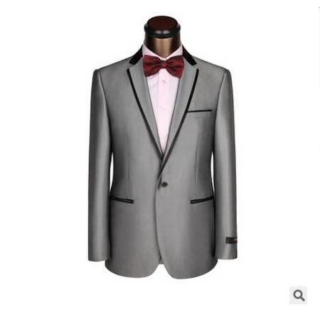 一扣夹亮黑边领商务礼服套装新款宴会男士礼服新郎套装祥服包邮