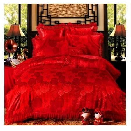 结婚多件套纯棉婚庆床品床上用品新款全棉贡缎家纺四件套品经包邮