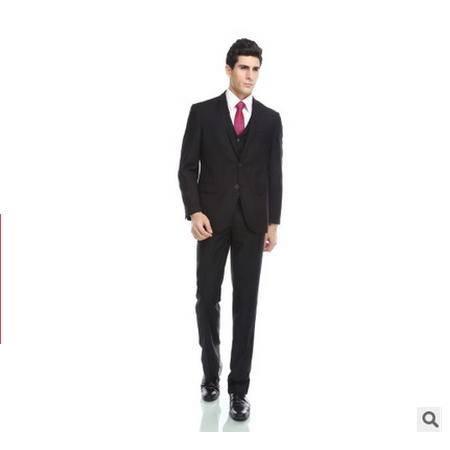 两扣黑色商务职业 礼服正装三件套男士西服套装祥服包邮