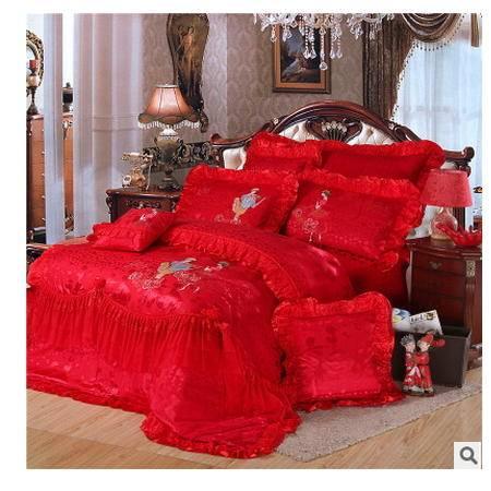 蕾丝绣花八件套结婚床上用品婚庆四件套大红色全棉多件套品经包邮