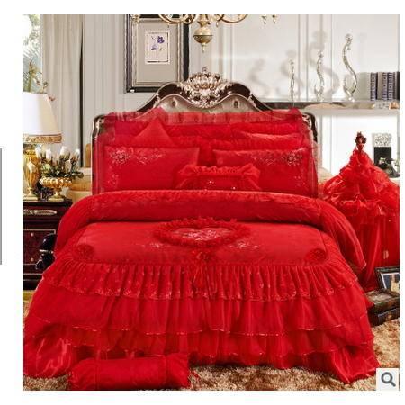 全棉九件套绣花十件套婚庆多件套贡缎婚庆床上用品提花四件套品经包邮