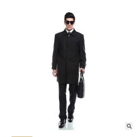 灰色羊毛暗纹加厚男式中长款毛呢大衣新款男士高档毛呢外套大衣祥服包邮