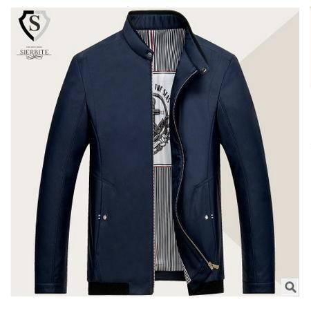 中老年商务休闲男士立领夹克衫 薄款外套2016秋季新品尼奥包邮