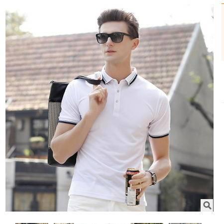 高档休闲短袖衫翻领棉质男装2016夏装新款男式T恤卓丹龙