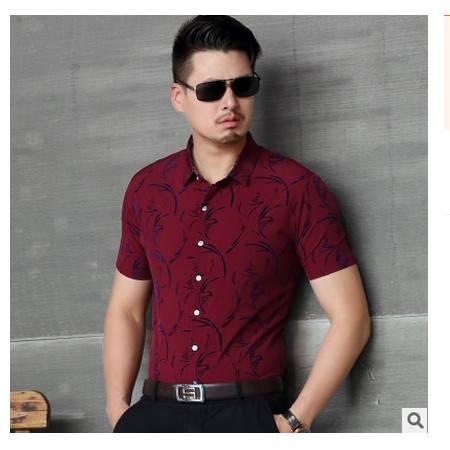 商务短袖 高档精纺全棉男装 2016夏季新款男式衬衫卓丹龙