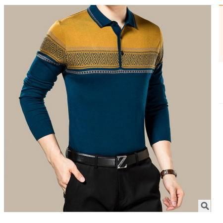 时尚翻领丝光毛衫 商务男装2016秋新款男式针织衫卓丹龙包邮