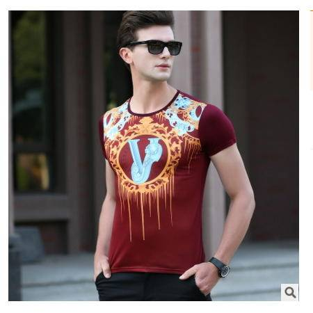 最爆双丝光全数码印花高端男T 男装2016夏装新款男式T恤 卓丹龙包邮