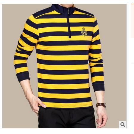 高档全棉长袖男装 休闲高领2016秋新款男式T恤衫卓丹龙包邮
