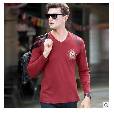 男装 休闲V领2016秋新款男式T恤衫 高档全棉长袖卓丹龙包邮